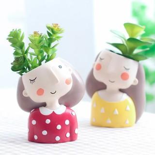 triple w pot mini succulent planter cute girl tanaman