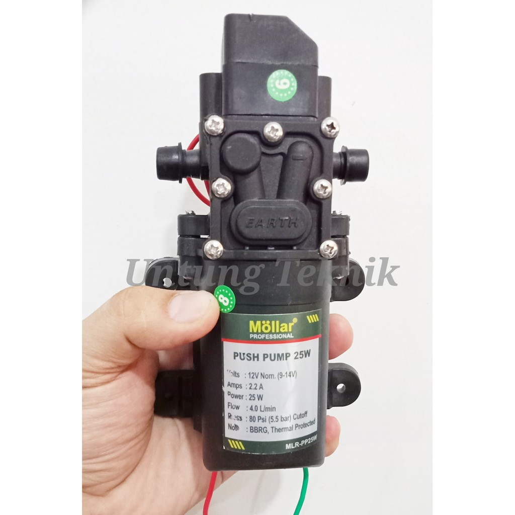 Mollar Pp25w Pompa Air Mini Dc 12 Volt Push Pump 25 Watt Peripheral Shopee Indonesia