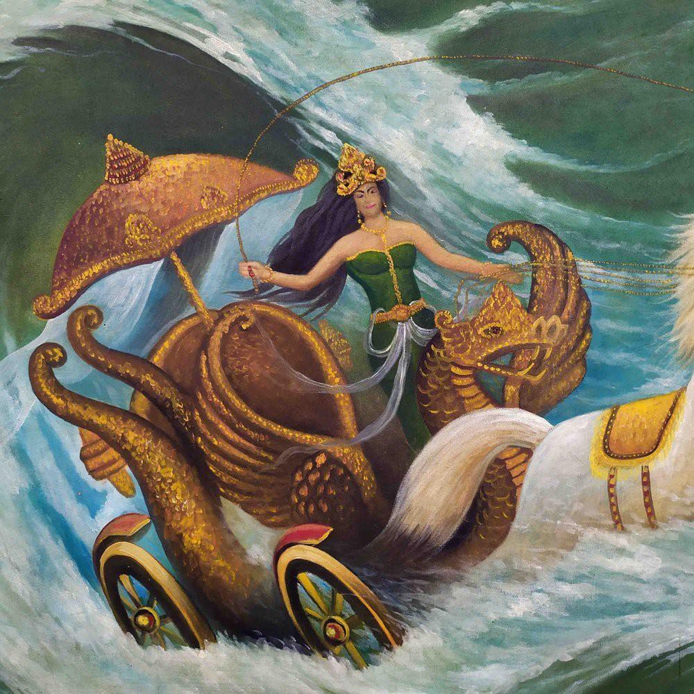 Lukisan Kanjeng Ratu Nyi Roro Kidul Ratu Pantai Selatan Dengan Kereta Kencana Antik Kuno Shopee Indonesia