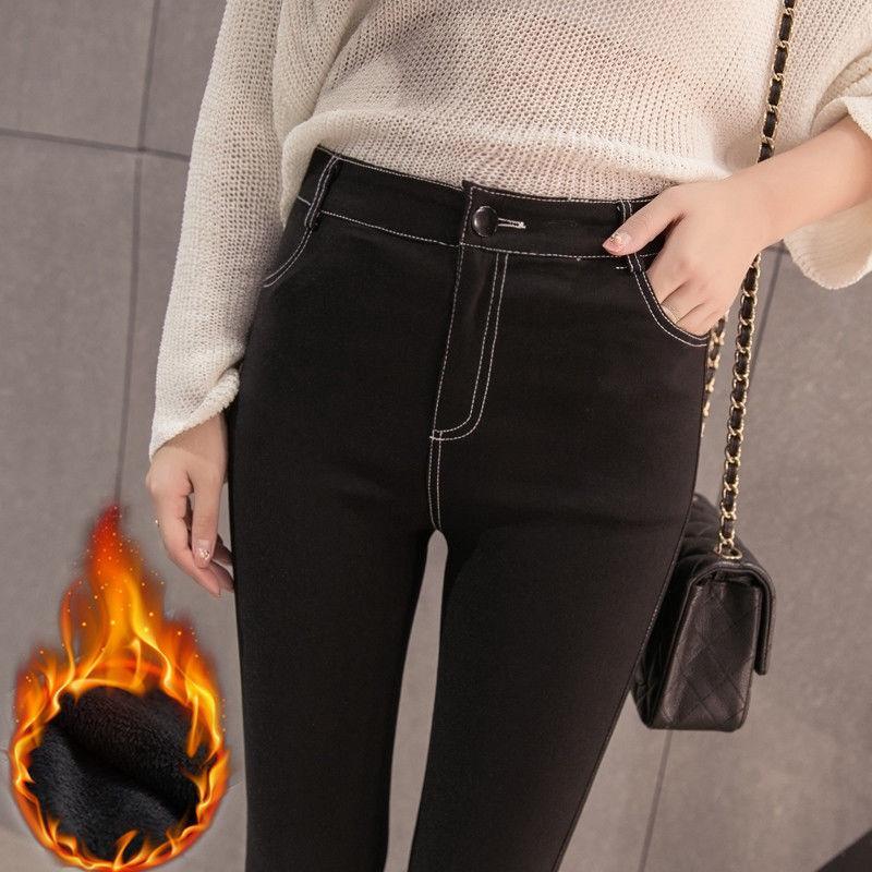 ﹊✠♕Musim semi dan gugur imitasi denim celana di luar memakai wanita ketat pensil