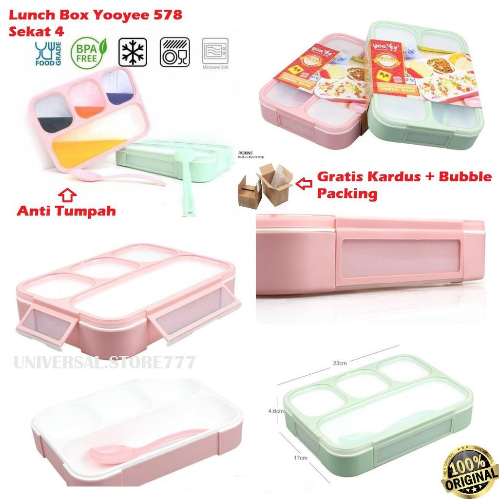 Lunch Box Yooyee Microwavable 029 4 Sekat Kotak Bekal Makan Oval Tempat Sup Bpa Free Shopee Indonesia