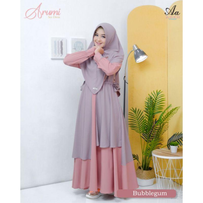 Moslem ORI Gamis busui friendly Arumi Dress set by Aden (ready pusat please cek stok)