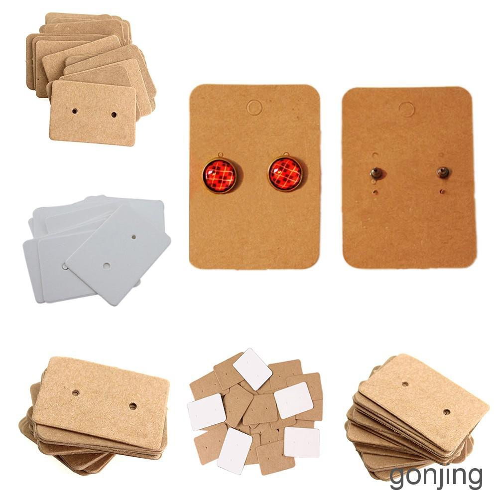 200 Set Earring Display Card with 200 Pcs Self-Seal Bags Brown Earring Card Holder Blank Kraft Paper Tags for DIY Ear Studs and Earrings