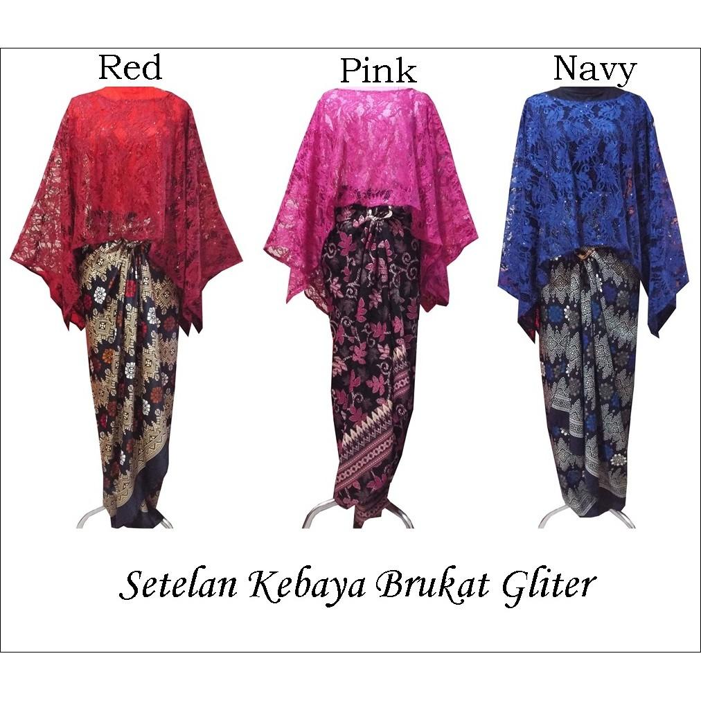 Setelan Kebaya Brokat Cape Glitter Tebal Shopee Indonesia