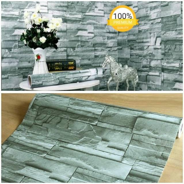 Grosir Murah Wallpaper Sticker Dinding bngt Motif Bata Abu-abu Dekorasi Ruang Santai Panjang 10x45cm | Shopee Indonesia