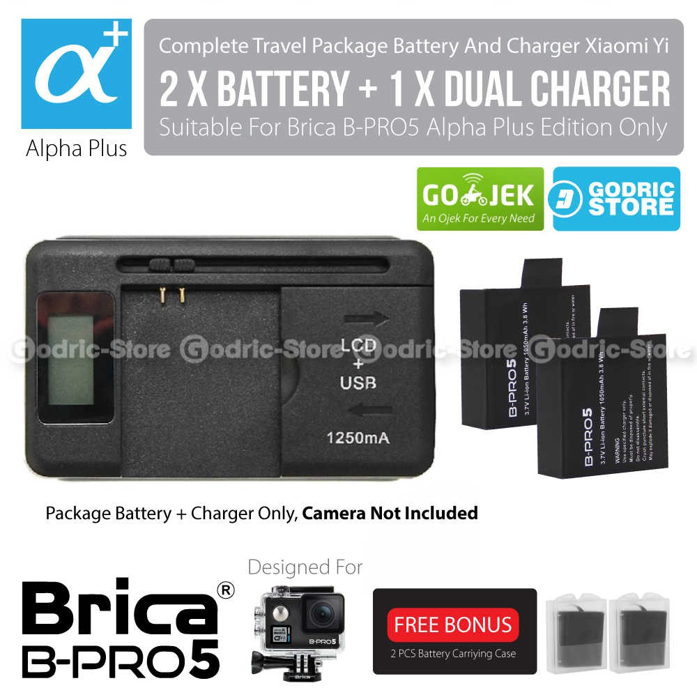 Kingma Combo Complete Battery Charger / Set Baterai For Xiaomi Yi International Version | Shopee Indonesia