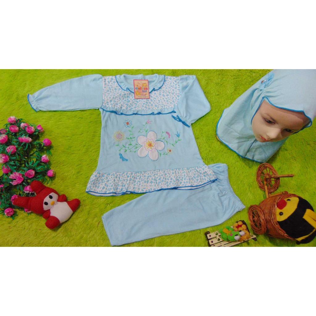 kembarshop PLUS HIJAB setelan baju muslim anak gamis bayi 0-12bulan polka mickey biru | Shopee Indonesia