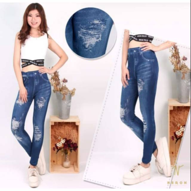 Legging Motif Jeans Sobek Tanpa Tembus Shopee Indonesia