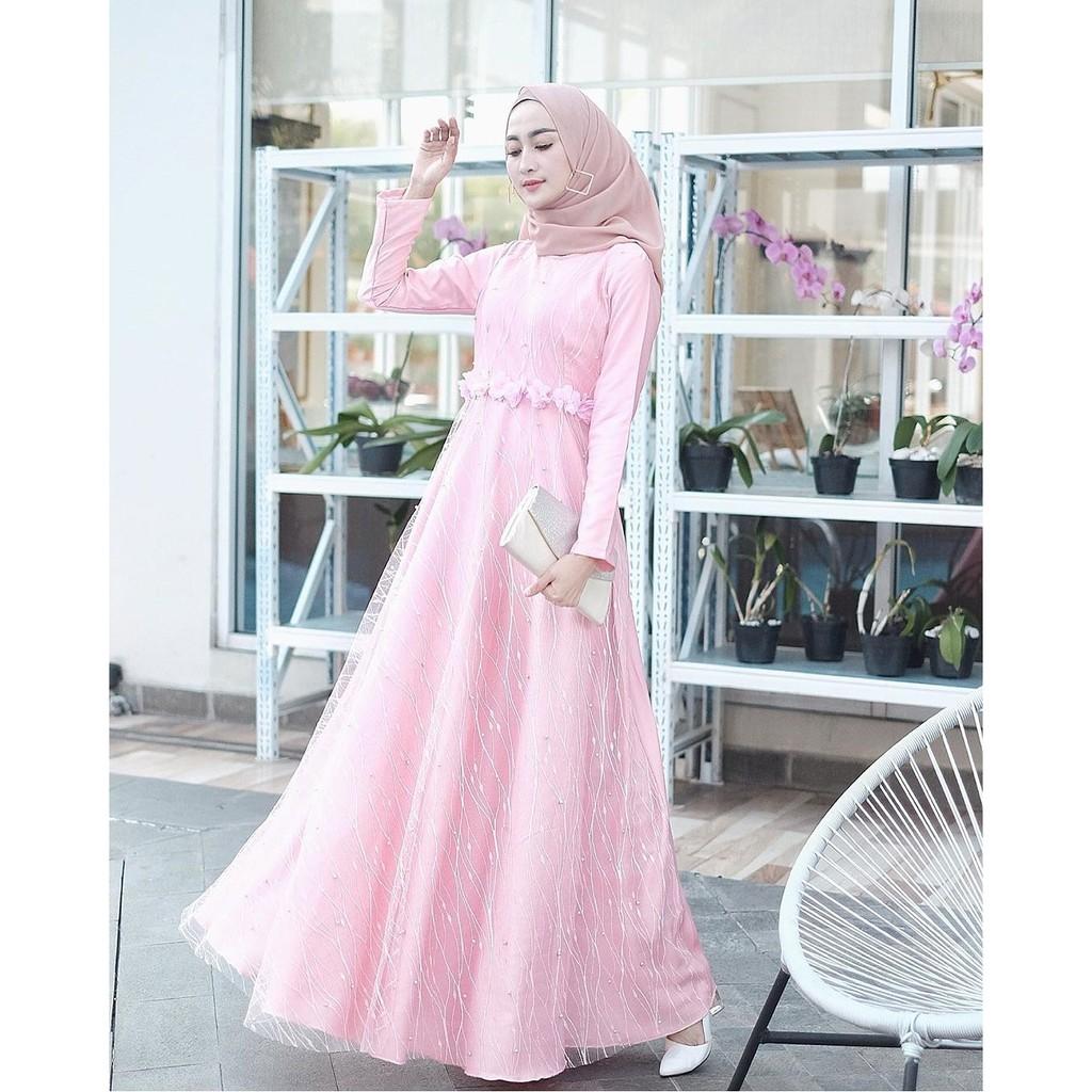 Tile Akar Mutiara Dress Muslim Gamis Baju Pesta