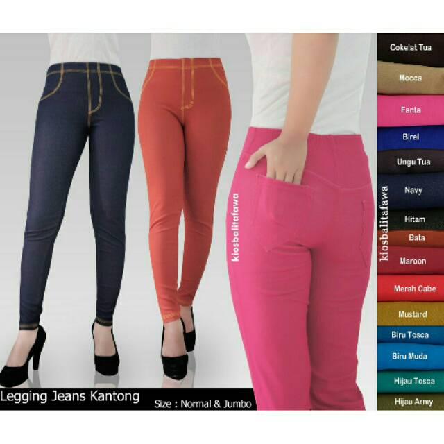 Legging Jeans Kantong uk Jumbo // fit to XXL Celana Dewasa Jumbo Celana Jeans Leging