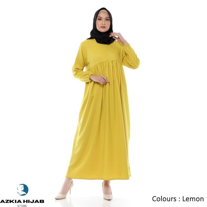 Terlaris Gamis Wanita | Bonanza Dress | Muslim Polos Original | Azkia Hijab - Navy Real Pict