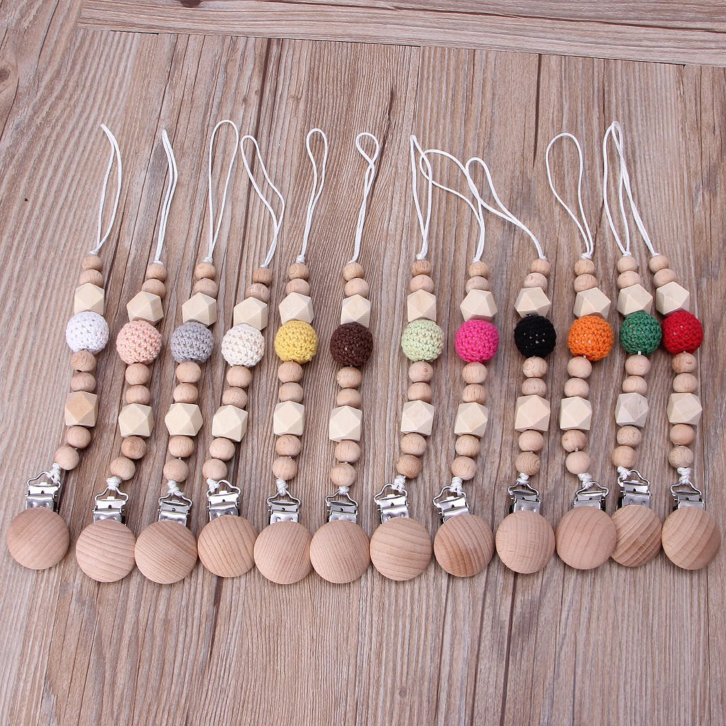 4 Color Choose Wooden Beads Dummy Clips Pacifier Clip Non-Toxic Soother Clips