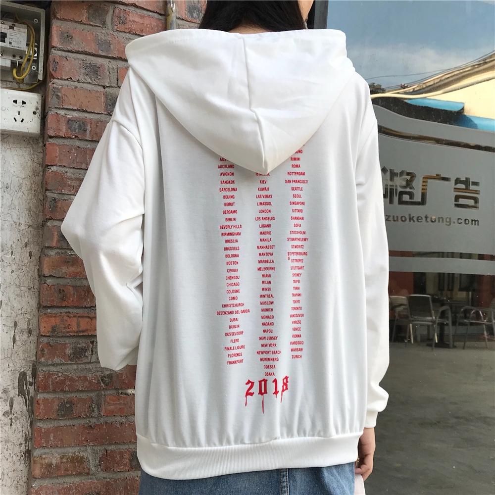 Sweater Kaos Hoo Model Longgar Motif Print Huruf Untuk Wanita