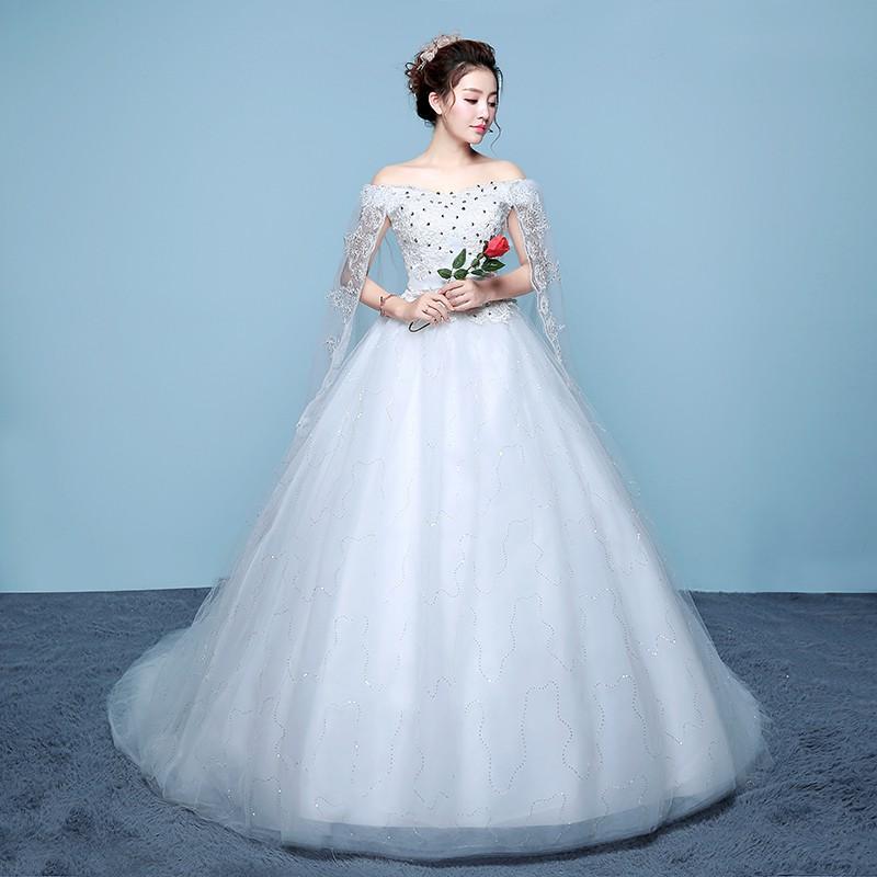Gaun Pengantin Ekor Wanita Putih Import Cantik
