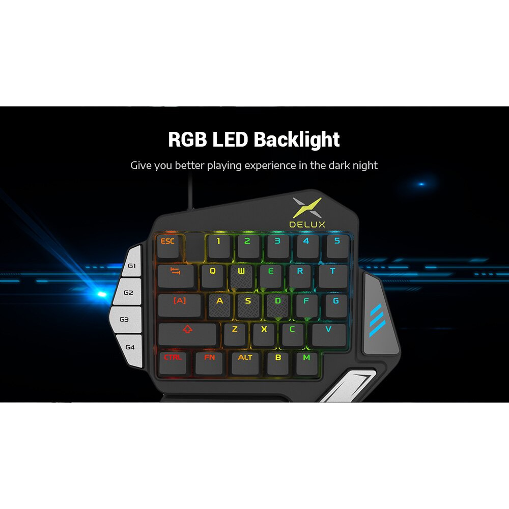 Gaming Delux T9x Mechanical Gaming Keyboards Single Handed Fully Programmable Usb Wired Keypad Shopee Indonesia