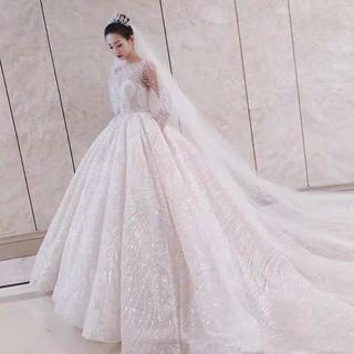 2020 New Temperament Bridal Wedding Dresses Long Sleeve Wedding Dress Tail Wedding Dress Shopee Indonesia
