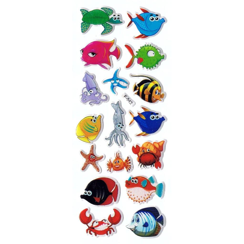 SK521 Stiker Sticker Timbul Set Strip Aneka Gambar Kartun Ikan Fish