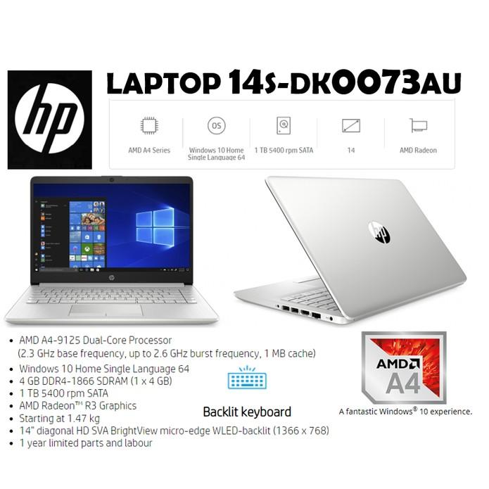 Laptop Hp 14s Dk0073au Amd A4 9125 4gb 1tb Amd R3 14 W10 Tas Resmi Shopee Indonesia
