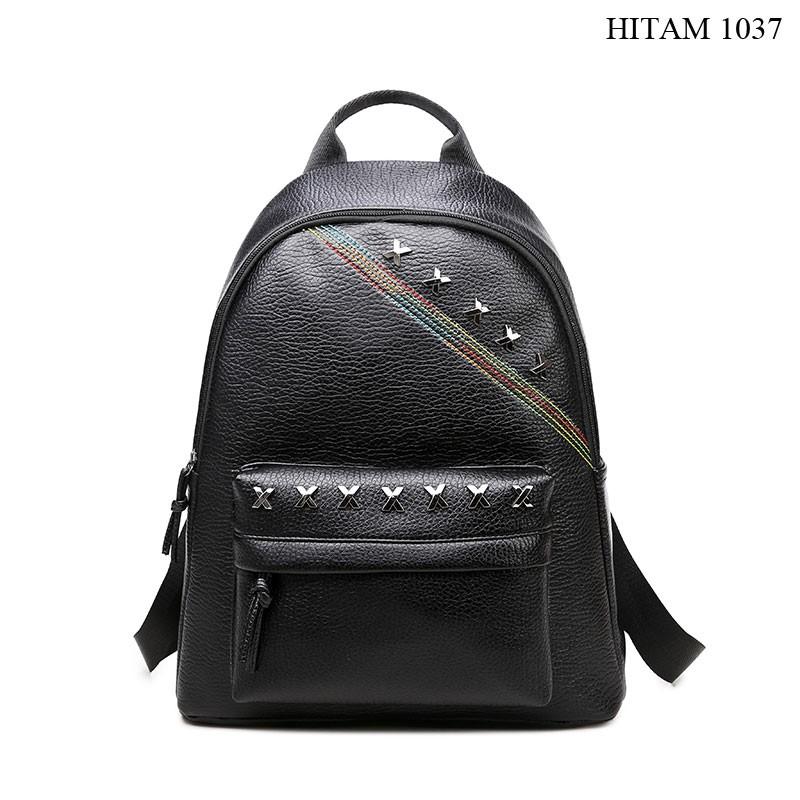 tas ransel backpack sekolah kuliah kantor kerja wanita lucu hitam black  murah sale promo import T194  0f812a20ba