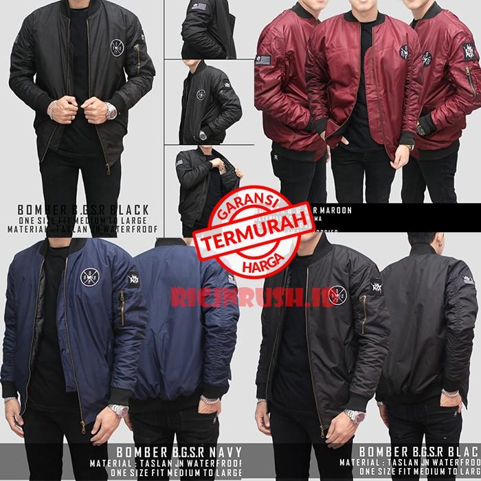 Jaket Bomber Polos Cowok Pria Merah Maron Biru Dongker Nevy Hitam Hijau  Army Premium  2277677e8e