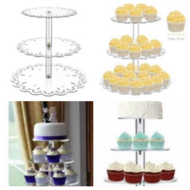 3 Tingkat Meja Display Cake Tier Acrylic Cupcake Stand Tier Cup Cake Spuit Mixer Loyang Oven Cetakan