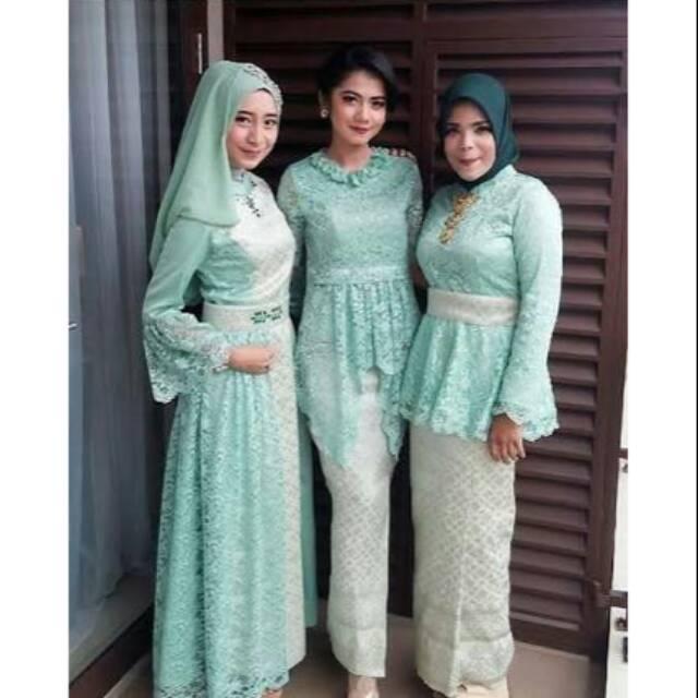 Realpic Gaun Brokat Pesta Muslim Kebaya Pesta Muslim Couple Kebaya Bridesmate Longdress Brokat