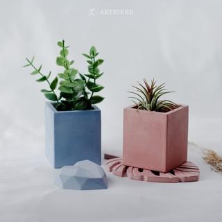 afra - concrete mini pot aesthetic untuk dekorasi, vas