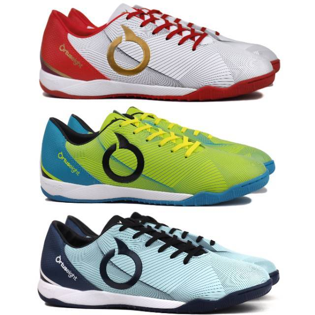 Sepatu Futsal Ortuseight Prodigy In White Fluo Green Sky Blue