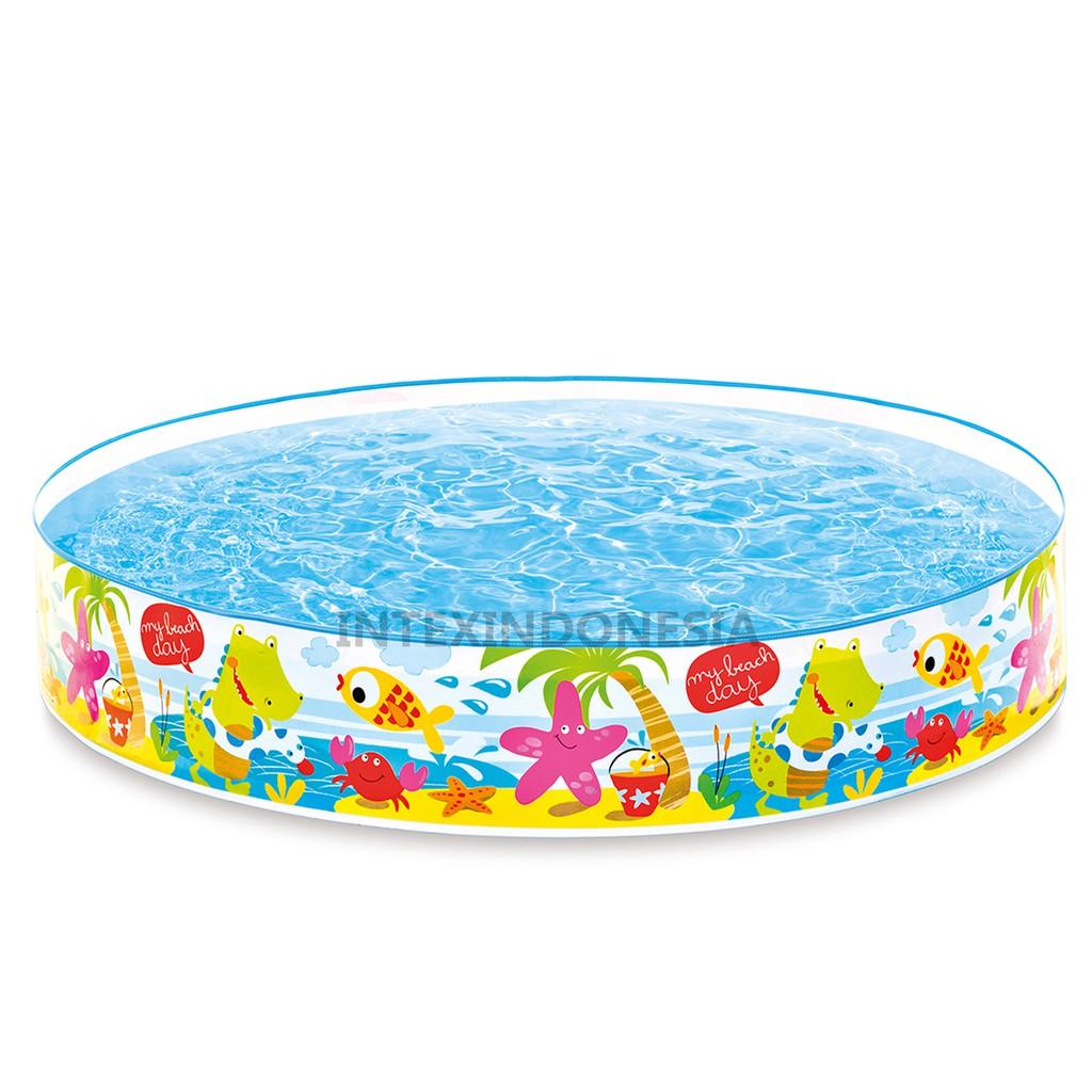 Kolam Renang Intex 5ft Beach Days Snapset Pool 56451 Swim Center See Through Round 57489 Blue
