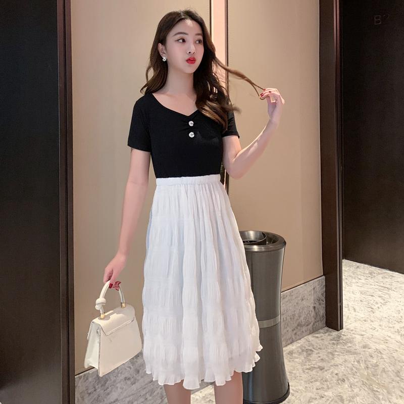 New 2020 Summer Plus Size Midi Dress Short Sleeve Woman Import Fashion Korean Casual Cotton Dresses Big Size Shopee Indonesia