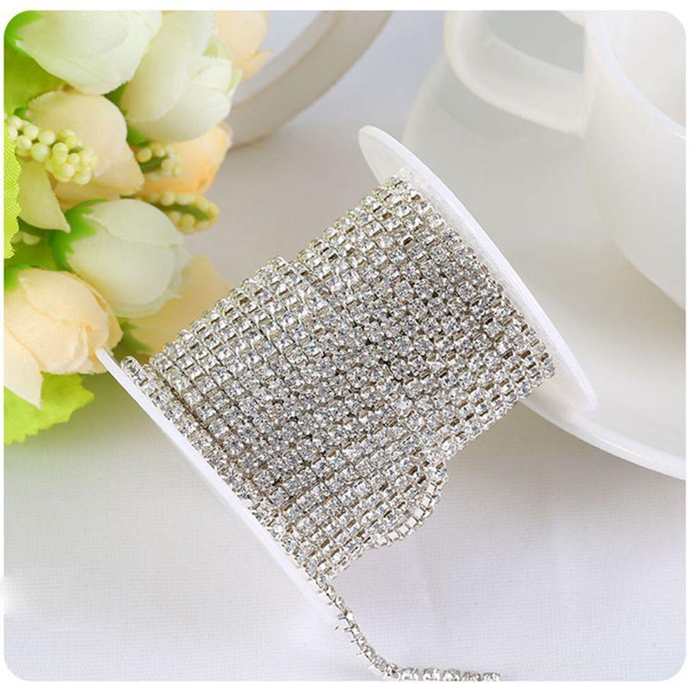 Silver Sparkling DIY Chain Rhinestone 1-row 2-row 3-row Trim Crystal 1 Yard
