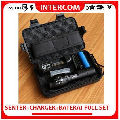 Paket Full Set Senter Ultrafire Swat E17 Led Tactical Cree