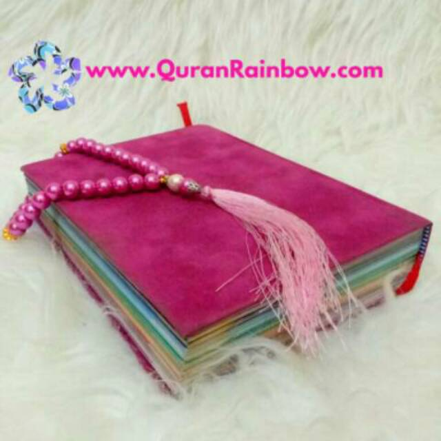 Rainbow Quran Falistya Pelangi Cover Beludru Impor Bonus Tasbih Cantik Pink Kosong Shopee Indonesia