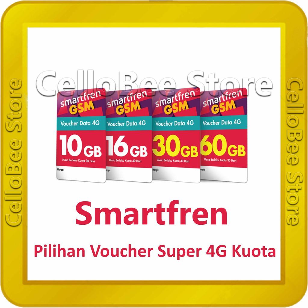 Voucher Data Smartren 4g Total Kuota 10gb 16gb 30gb 60gb Perdana Axis Aktif Pulsa 0 K Unlimited Shopee Indonesia