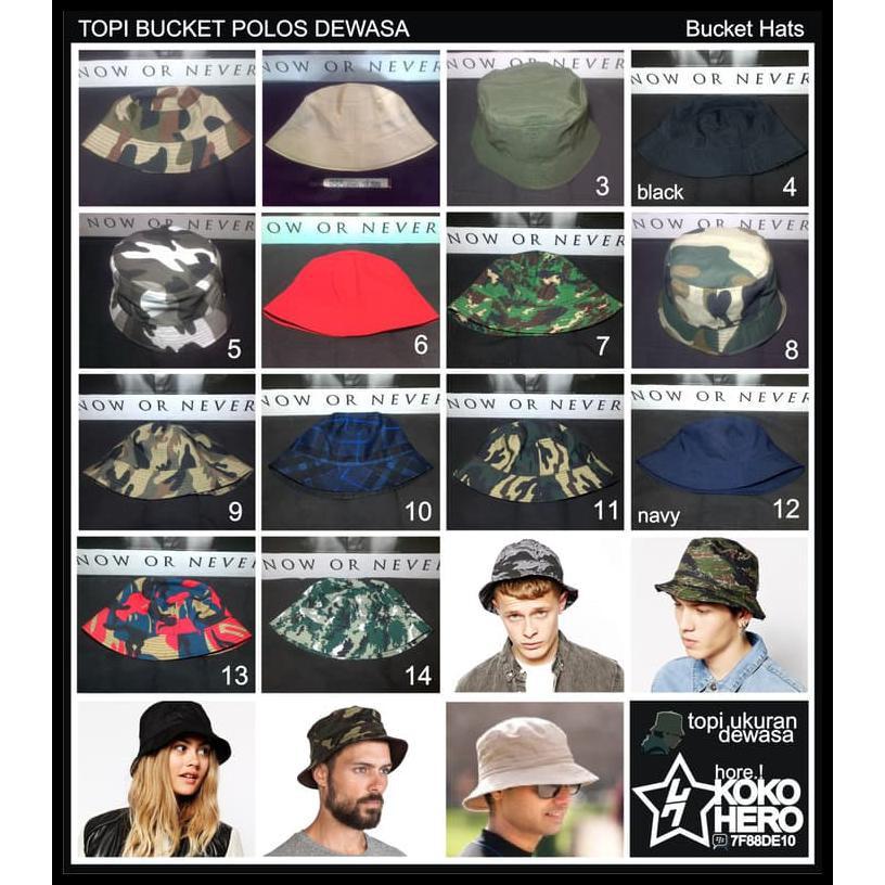 topi Bucket Hat Buckethat Hats polos polosan Dewasa mancing petani ... 2c0aac679e