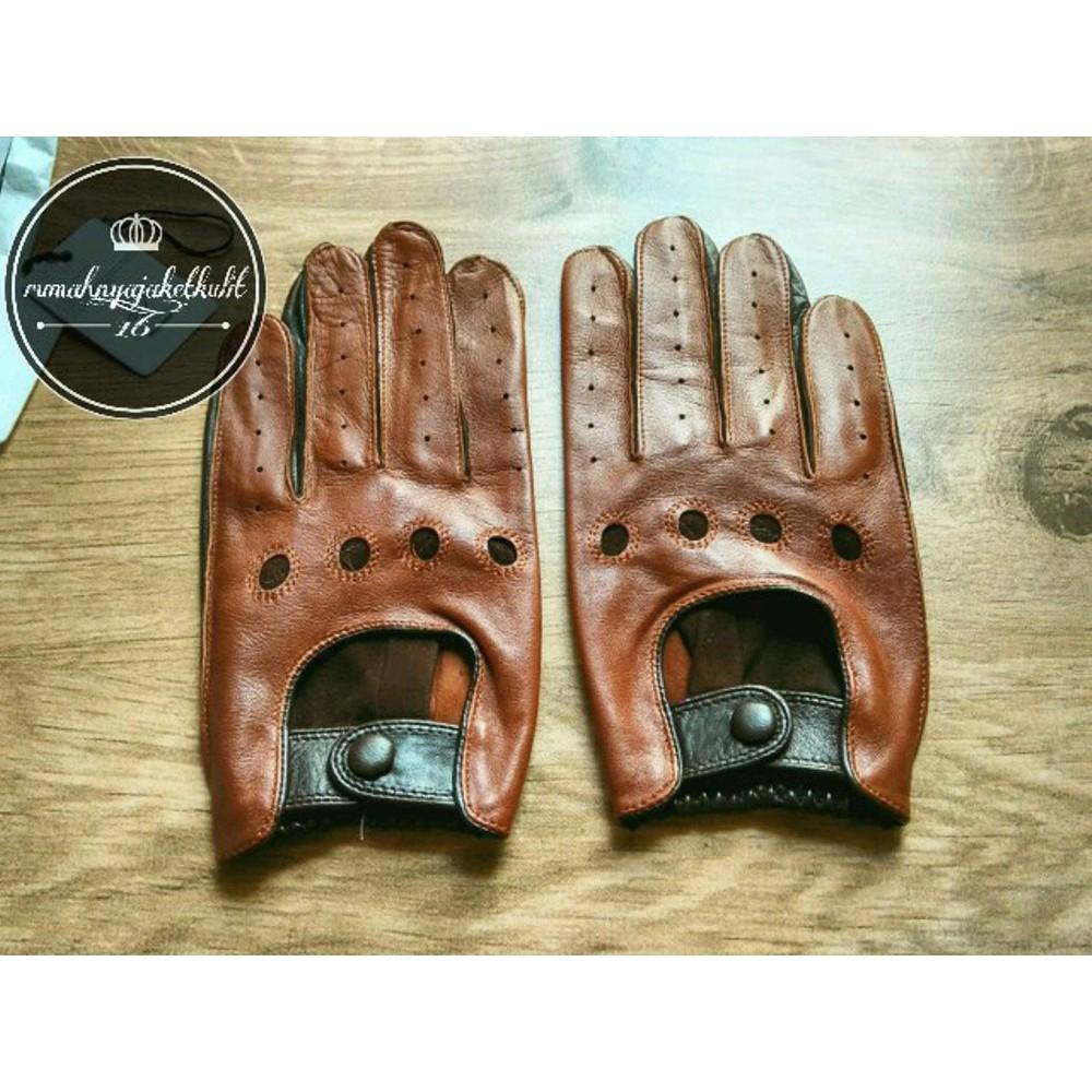 Gipsy Classic Leather Gloves Sarung Tangan Kulit Glove Asli Garut Half Protection Brown Best Seller Shopee Indonesia