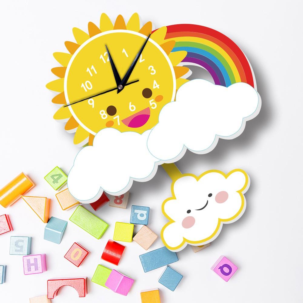 ★MIXIQI★ DIY Stiker Jam Dinding Matahari Pelangi Awan Jam Anak Kartun Jam Dekorasi Jam
