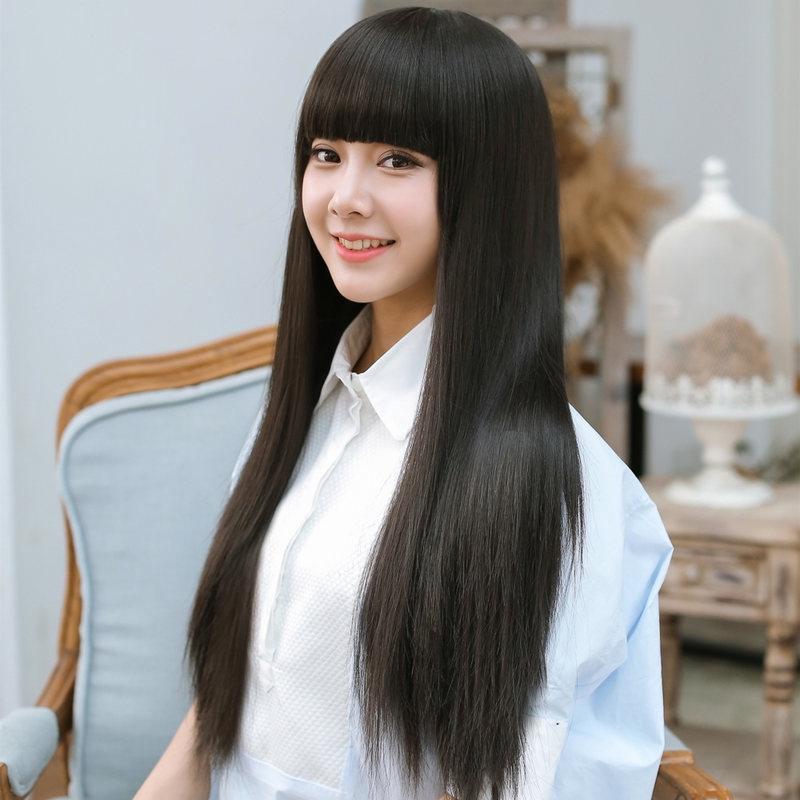 Spot Multicolor 70 Cm Wig Wanita Rambut Lurus Panjang Berbulu Poni Wig Tebal Shopee Indonesia