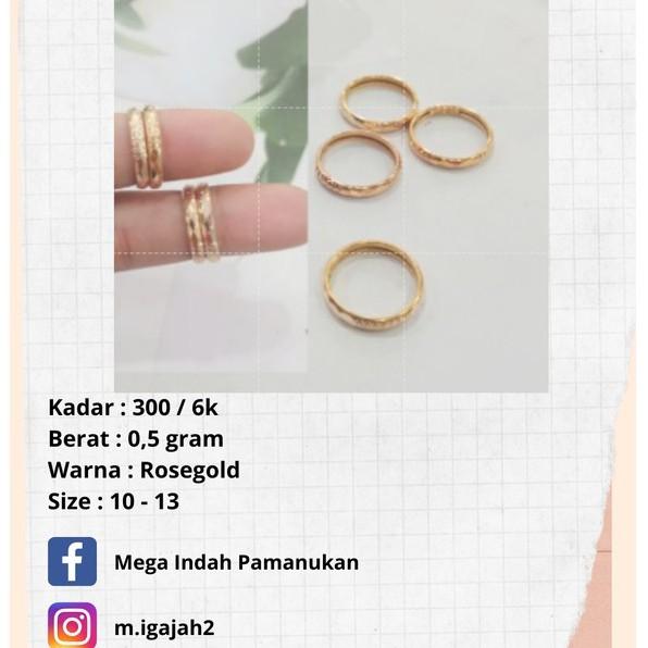 Cincin Emas asli murah 0.5 gram 300/6k