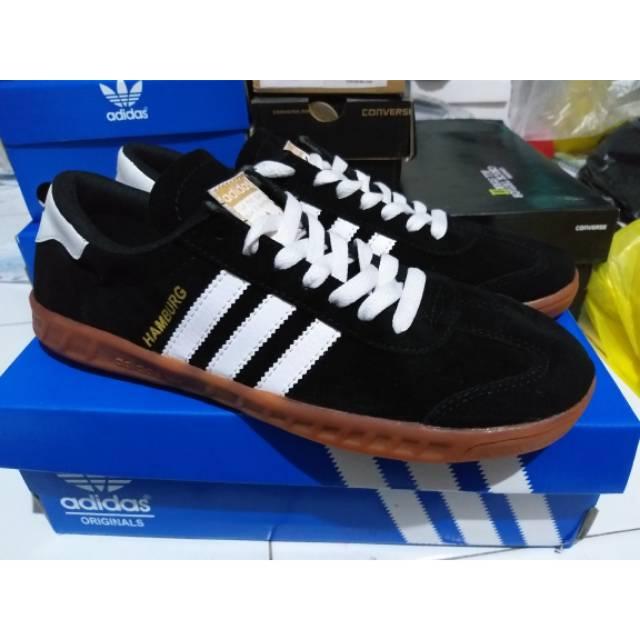 Sepatu Adidas Hamburg Black White Gum Hitam Putih Sneakers Sekolah