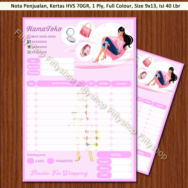 Nota Kwitansi Invoice Full Color Hello Kitty 1 Ply Shopee