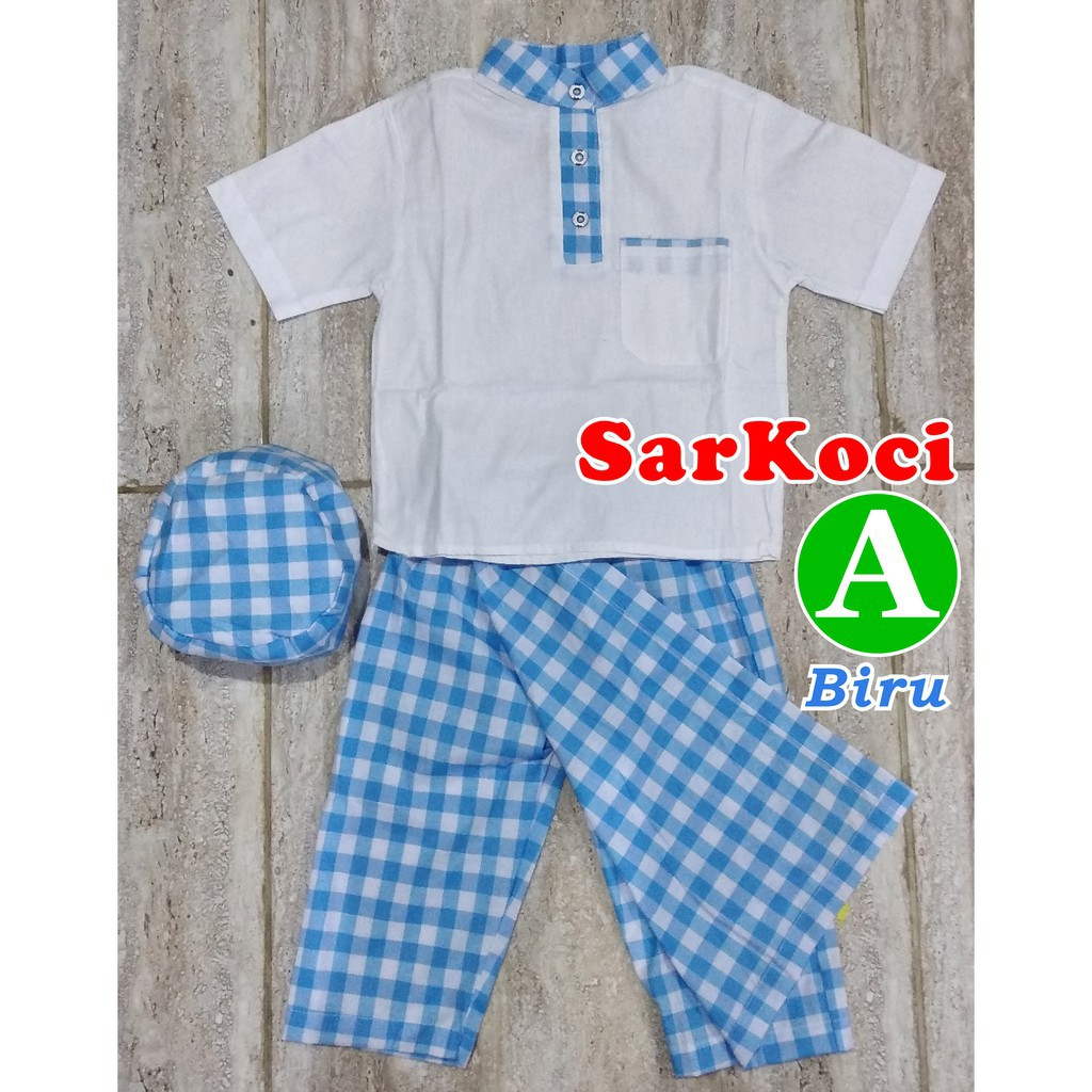 Sarkoci 1 2 3 Thn Baju Koko Sarung Peci Fashion Pakaian Baby Usia Tahun Muslim Anak Setelan Murah Shopee Indonesia