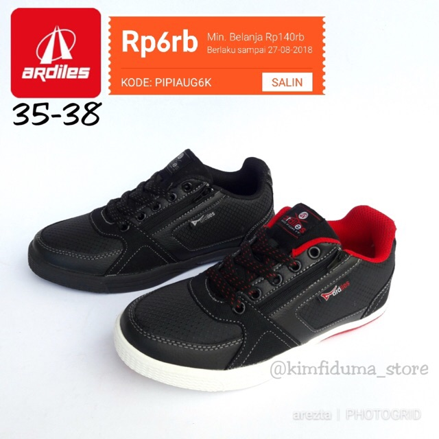 Sepatu Sekolah Hitam Polos Tali Ardiles Logitec Shopee Indonesia