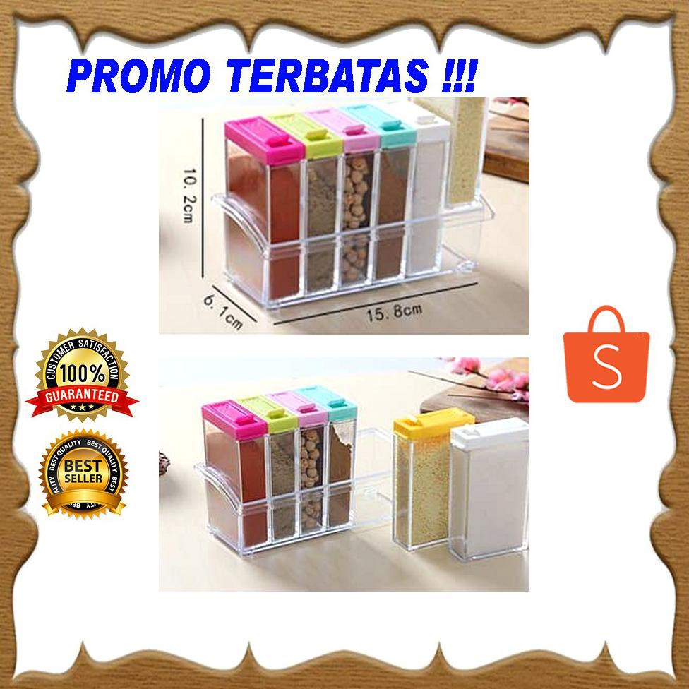 Tempat Bumbu Dapur 6 in 1 Modern Rak Box 6in1 Kotak 1 Set Plus Holder |