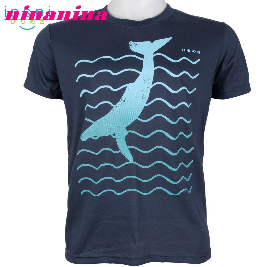 Kaos T Shirt Lengan Pendek Motif Print Kartun Ikan Paus Untuk Musim Panas