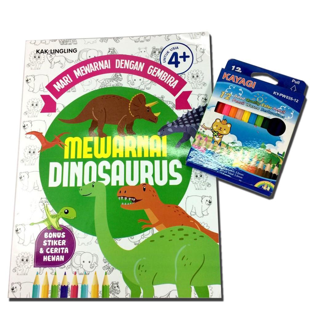 Mewarnai Dinosaurus Bonus Free Pensil Warna Isi 12 Warna Pendek