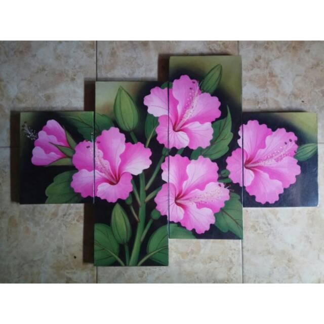 Lukisan Panel Bunga Kembang Sepatu Pink Shopee Indonesia