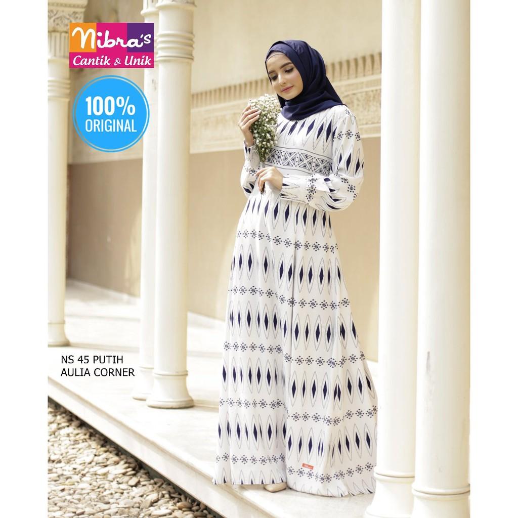 Baju Atasan Muslim Jaman Sekarang Gamis Nibras NS 11 Putih ORIGINAL Untuk  Pesta