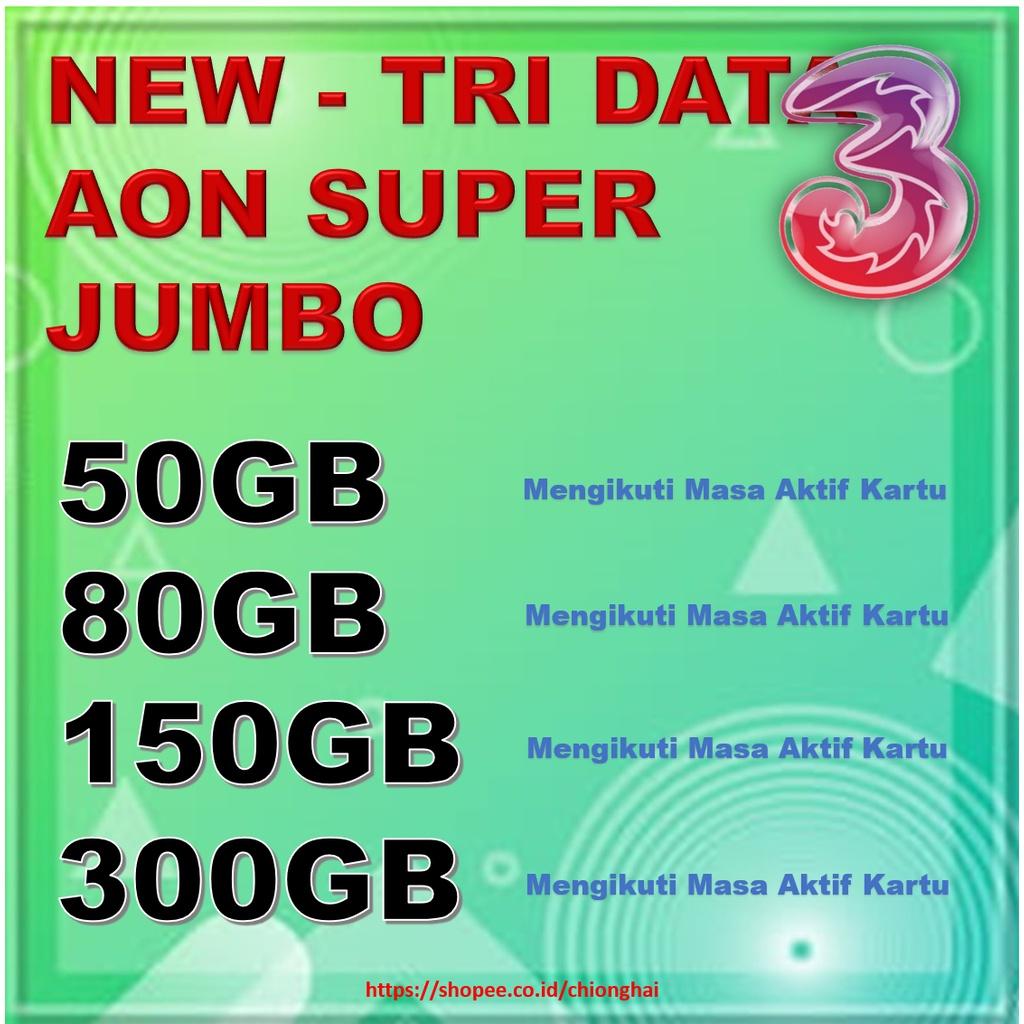 [ BARU ] KUOTA Tri ISI ULANG KUOTA AON Always On Super JUMBO 50GB 80GB 150GB 300GB