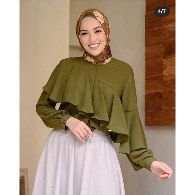 Claire Blouse Wearing Klamby sise S Colour Dusty dan size S colour Olive
